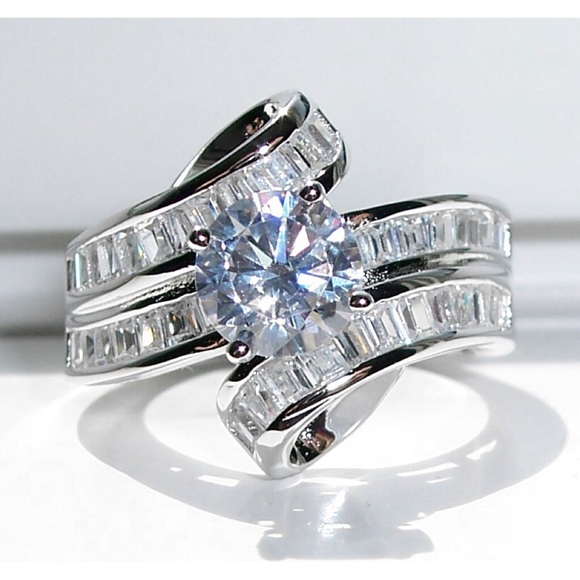 Womens 925 Sterling Silver CZ Baguette Wedding Band Engagement Ring 7mm Wide
